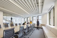"1"" Claro® Baffles provide excellent sound absorption in the new Perkins+Will Chicago Office. Baffles are direct mounted to the ceiling using factory installed clips and supplied ceiling track. 
