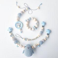 Kinderwagenkette, Greifling, Schnullerkette und Maxicosi Mobile in Hellblau, Beige und Silber▫▫ #ba - my.little.crochet.corner