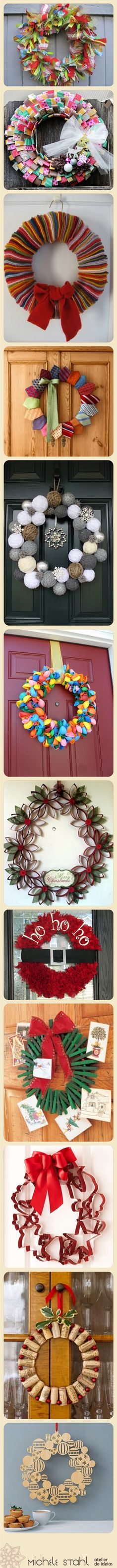 Decorando a casa pro Natal: Ideias de Guirlanda / #Christmas #wreath #ideas