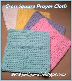 Cross Square Prayer Cloth Crochet Pattern By Sara Sach of Posh Pooch Designs A Very Special Friend asked if I would m. Prayer Shawl Crochet Pattern, Prayer Shawl Patterns, Crochet Prayer Shawls, Crochet Cross, Filet Crochet, Crochet Blanket Patterns, Crochet Shawl, Dishcloth Crochet, Crochet Twist