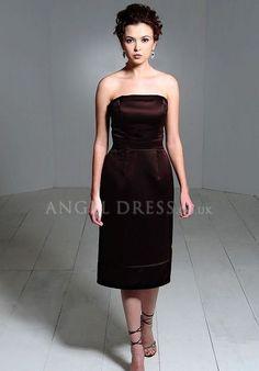 Satin Zipper up Sheath/ Column Strapless Knee Length Sleeveless Bridesmaid Dress
