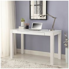 "$59?! WHAT!! Big Lots desk looks just like the popular IKEA vanity tables! Parsons White Finish 48"" Desk at Big Lots."