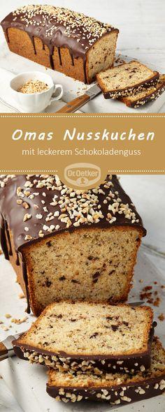Omas Nusskuchen: Ein schokoladiger Haselnusskuchen mit Guss Cake Cookies, Cupcake Cakes, Baking Recipes, Cake Recipes, Chocolate Hazelnut Cake, German Cake, Sandwiches, Cake & Co, Vegan Foods