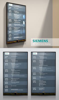 Digital building directory for Siemens HQ in Kuala Lumpur. Aiming to replace their traditional building directory for more efficient usage in terms of content updating, building's space, and content's quantities