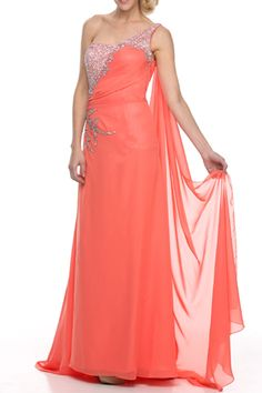 One Shoulder Stylish Beaded Prom Gown #coral #dressforprom #prom