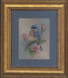 """This 9"""" x 8"""" original watercolor by Carolyn Shores Wright is matted in a gold frame. This image is one of many birds she has painted over the years."""