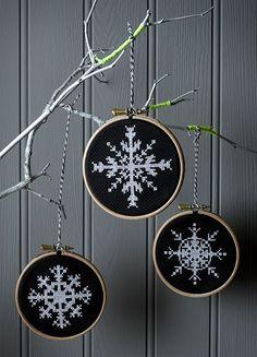 Cross stitch - white snowflake on dark background