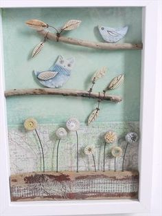 Sýček obecný a Bird - Shirley Vauvelle Clay Projects, Clay Crafts, Diy And Crafts, Arts And Crafts, Owl Crafts, Box Frame Art, Box Art, Ceramic Birds, Ceramic Clay