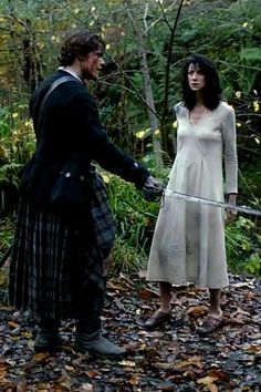 """If ye won't walk, I shall pick you up and sling ye over my shoulder. Do ye want me to do that?""~ Jamie & Claire- Still from Episode 101 Sassanach"