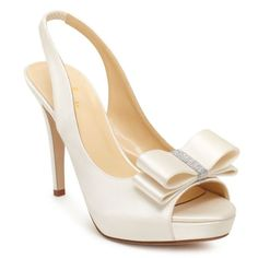 "Kate Spade 'Glam' shoes. ""Glide down the aisle or into your rehearsal dinner in our ivory peep-toe slingbacks, sweetly adorned with a crisp bow."" 4"" heel, 1"" platform."