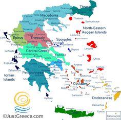 The map of Greece Greek Islands Map, Island Map, Greece Islands, Greece Map, Greece Itinerary, Greece Travel, Travel Europe, Macedonia, Skiathos Island