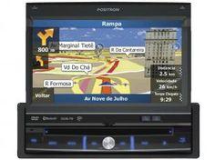 """DVD Automotivo Pósitron SP6900 Retrátil Tela 7"""" - TV Digital GPS Bluetooth Entrada USB e SD"""