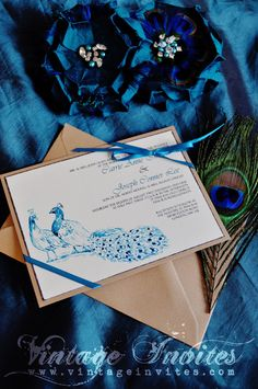 The Carrie Vintage Peacock Wedding Invitation