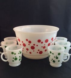 A personal favorite from my Etsy shop https://www.etsy.com/listing/464508447/vintage-milk-glass-polka-dot-punch-bowl