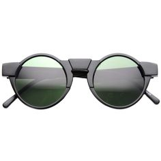 Unique Retro Futuristic Round Horned Rim Sunglasses - zeroUV