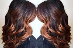 Wavy Dark Brown Hair with Copper Highlights