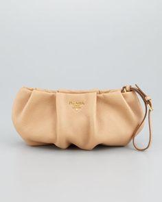 Daino Pleated Wristlet Clutch Bag, Beige by Prada at Neiman Marcus.