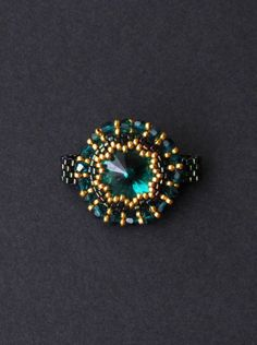 Swarovski Crystal Beaded Ring by HeidiRathbone on Etsy, $35.00