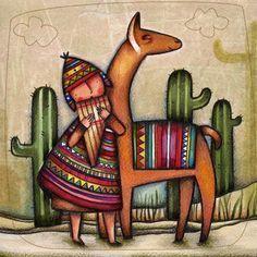 Resultado de imagen para coyas pinturas Alpacas, Arte Latina, Peruvian Art, Latino Art, Inka, Llama Alpaca, Cactus Art, Arte Popular, Naive Art
