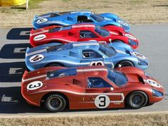 Ford lineup of their winners, Le Mans, Sports Car Racing, Sport Cars, Auto Racing, Road Racing, Classic Sports Cars, Classic Cars, Classic Auto, Can Am