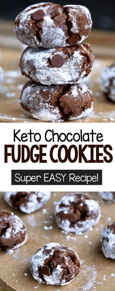 KETO CHOCOLATE FUDGE COOKIES, these are so good and can also be vegan cookies and cream cookies christmas cookies easy cookies keto cookies recipes easy Keto Friendly Desserts, Low Carb Desserts, Low Carb Recipes, Baking Recipes, Dessert Recipes, Vegan Cookie Recipes, Keto Friendly Chocolate, Chocolate Fudge Cookies, Chocolate Desserts