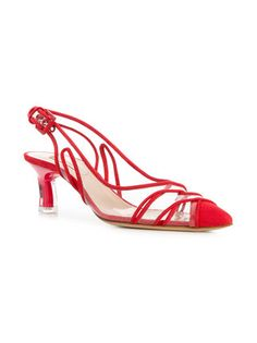 Casadei   Slingback Contrast-trim Pump in red leather and transparent PVC, with a pointed toe, a buckled slingback strap and a kitten heel   from FarFetch.com   May 2018