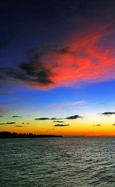 Sunset at Lumut Bay, Brunei.