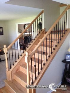 Single And Plain Versatile Balusters Installed By Update My Stairs Inc.