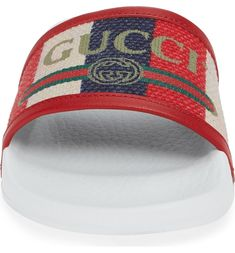 Sylvie Stripe Slide Sandal, Alternate, color, White/ Blue/ Red Gucci Sylvie, Web Colors, Vintage Gucci, Red Shoes, Red White Blue, Slide Sandals, Nordstrom, Women, Style