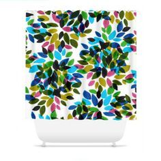 DAHLIA DOTS 1 Fine Art Floral Painting Shower Curtain Washable Olive Green Turquoise Blue Pink White Polka Dots Decorative Colorful Modern Bathroom by EbiEmporium, Fun Chic Multicolored Home Decor Cool Flowers Abstract Watercolor Painting Fine Art Contemporary Style Teen Dorm, #dorm #homedecor #bathroom #shower #curtain #showercurtain #floral #flowers #polkadots #rainbow #colorful #pattern #watercolor #fineart #design #decorative #EbiEmporium