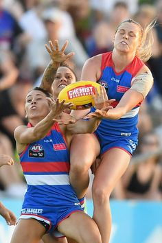 Katie Brennan of the Bulldogs flies for a mark during the round two AFL Women's match between the Western Bulldogs and the Adelaide Crows at Whitten Oval on February 10, 2017 in Melbourne, Australia.
