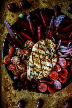 Grilled Chicken, Beet and Cherry Salad with honey balsamic dressing from HeatherChristo.com