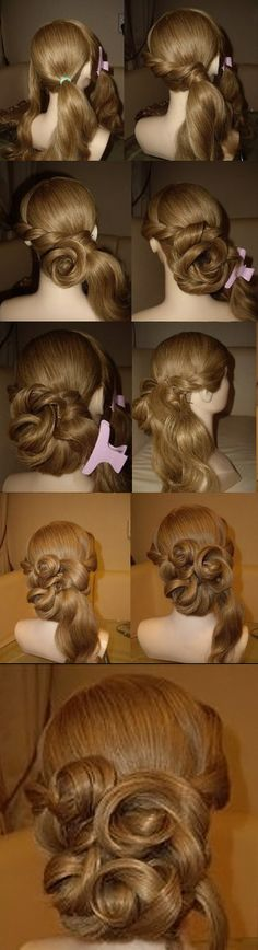 How to create amazing hairdo for long hair. Tutorial for evening hair style. http://pinterest.com/cg4tv/amazing-hairdos/