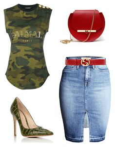 """Untitled #4"" by gemagarczamb on Polyvore featuring Balmain, Gucci, Angela Valentine Handbags and Gianvito Rossi"