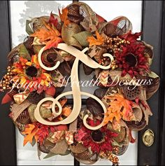 Fall/ Autumn Wreath with Vine Script Letter and Sunflowers  Jayne's wreath designs on fb and Instagram