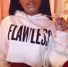 Bossshyt Flawless Womens Crop Hoodie Long Sleeve Jumper Hooded Pullover Coat Casual Sweatshirt Top -White/Black