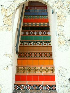 Beautiful colors and patterns on these tiled steps and risers!