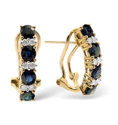 Sapphire 1.45CT And Diamond 9K Yellow Gold Earrings - Item H4218.  #thediamondstoreuk #sapphireearrings #earrings #sapphire #diamonds