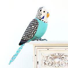 Fabric Bird - BLUE BUDGIE, BUDGERIGAR - Made to Order