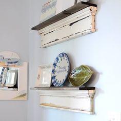 Repurpose old trim parts to create unique platter shelves.
