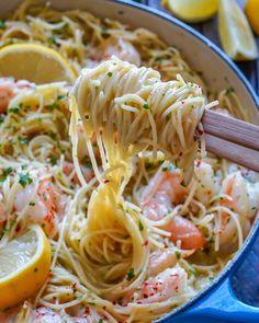 Best Shrimp Scampi Recipe, Creamy Shrimp Scampi, Garlic Shrimp Scampi, Pasta Scampi, Angel Hair Pasta Recipes, Easy Pasta Recipes, Cooking Recipes, Angel Hair Shrimp Pasta, Shrimp With Pasta