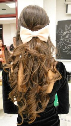 long beautiful hair with pink bow