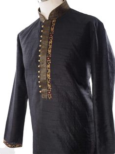 Black Kurta (Long Shirt) and antique gold churidar (Draw stringed tight at ankle Indian trousers)Ideal for Asian weddings , Bollywood Parties or any special occasion.We have sourced this item from one of the best designers of Mens Ethnic Fashion. Kurta Pajama Men, Kurta Men, Indian Men Fashion, Ethnic Fashion, Mens Shalwar Kameez, Boys Kurta Design, Gents Kurta, Mens Kurta Designs, Groom Wear
