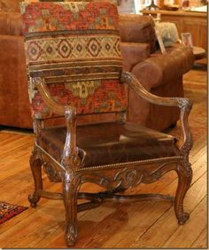 Hill Country Furnishings With Southwestern Flair: Could This Be Your Style? Cowhide Decor, Cowhide Furniture, Man Cave Furniture, Log Cabin Furniture, Rustic Wood Furniture, Western Furniture, Furniture Design, Southwestern Dining Chairs, Southwestern Home