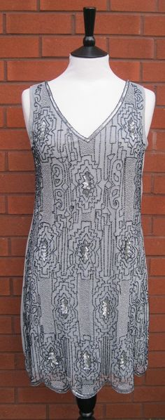 Grey Navy UK size 10 US 6 Vintage inspired 1920s vibe Flapper Gatsby Beaded Charleston Sequin Art Deco Mod Wedding Party Dress New Hand Made...