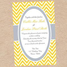 Yellow and Gray Chevron Invitation