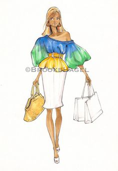 Impresión de ilustración de moda de compras de Samantha Jones