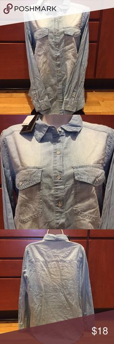 """Polly & Esther Light Blue Wash Shirt Brand new with tags 100% cotton   Length is 29"""" in front and 31"""" in back  under the arms across laying flat is 20"""" extra button included Polly & Esther Tops Button Down Shirts"""