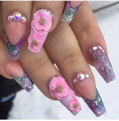 Clear Nail Enamel, with Pink and Purple Colored Rose designs