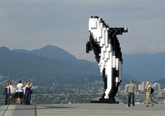Vancouver's Coolest Public Art: Douglas Coupland's Digital Orca Outdoor Sculpture, Outdoor Art, Douglas Coupland, Public Space Design, Street Graffiti, Canadian Art, Canada Travel, Public Art, Urban Art